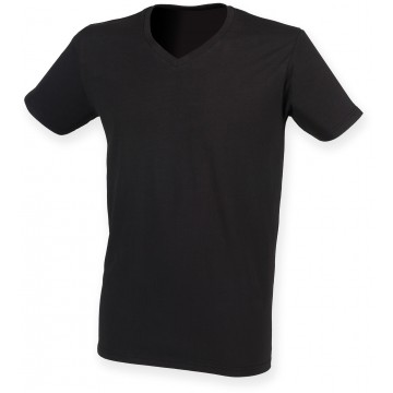 T-SHIRT HOMME EXTENSIBLE COL V SKINNI FIT